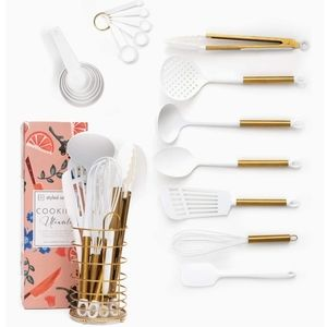 NEW White & Gold Cooking Utensils With Holder